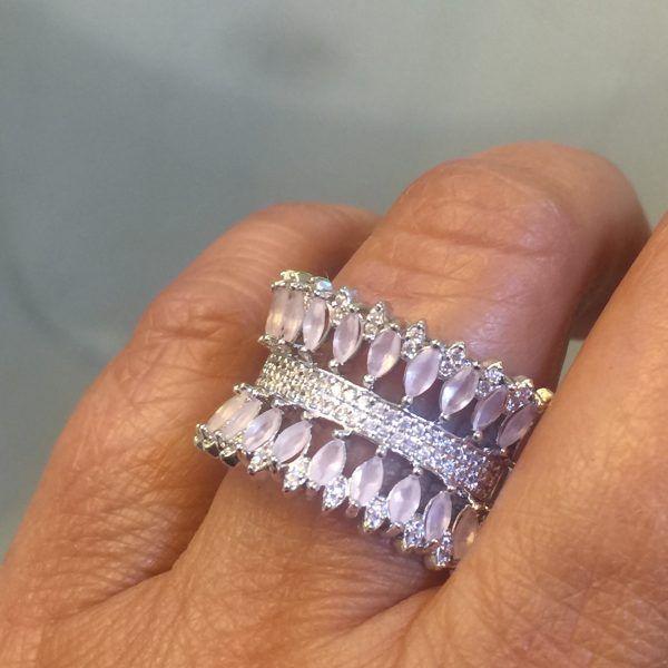 Anel Cristal Quartzo Rosa Navete | Lanarée Acessórios