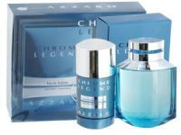 Azzaro Chrome Legend Gift Set A Fresh Fragrance with citrus, musk and aqua and followed by a woody end note. Top notes of Lemon, Petitgrain, Rosemary and Pineapple. Middle notes of  Coriander, Jasmine, Cyclamen and Orris and Base notes of Cedarwood, Moss, Tonka and Musk.