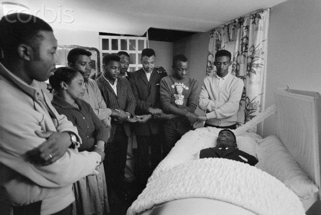 The funeral of Jimmie Lee Jackson, slain by the Klan while defending his mother from a beating. The Klan did this deliberately, to incite a reaction so they could kill Jackson.