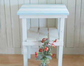 Beach Cottage Stripe Table, end table, night stand, Aqua and white