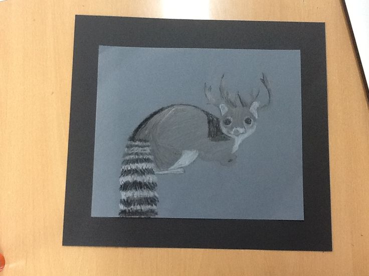 I will add more shadow to my drawing by including middle shade gray, and darker gray. These changes will make my artwork more realistic. My drawing  is very interesting because I mixed a ringtailed cat with antlers of a reindeer. Also, it contains various colors like white, gray, dark gray, and even black.