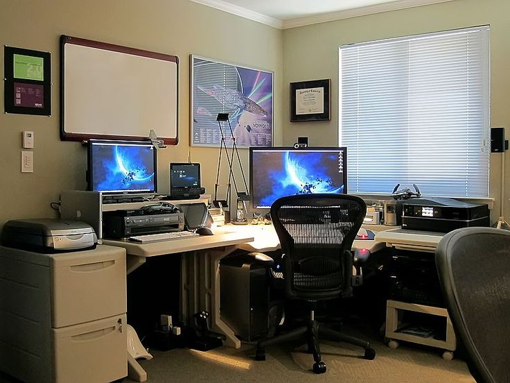 37 best workspace multiple monitor images on pinterest - Small office setup ideas ...