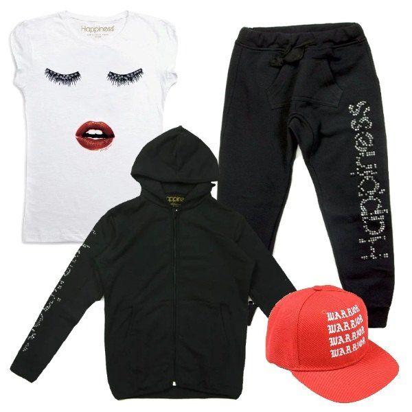 Outfit da bimba, composto da t- shirt bianca con stampa e maniche corte abbinata ad un pantalone nero con stampa e strass applicati e ad una felpa nera con cappuccio e strass. Per gli accessori ho scelto un cappello con visiera rosso con stampa.