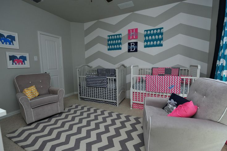 Project Nursery - Pink and Grey Chevron Nursery for Twins