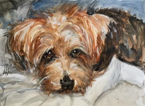 """Daily Paintworks - """"Norfolk not guilty https://pagez.com/3532/33-facts-about-dogs"""