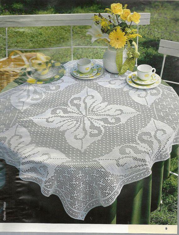 Handmade Crochet Tablecloth Butterflies, Heirloom, Filet Crochet, Victorian,  Rustic,  Wedding Gift