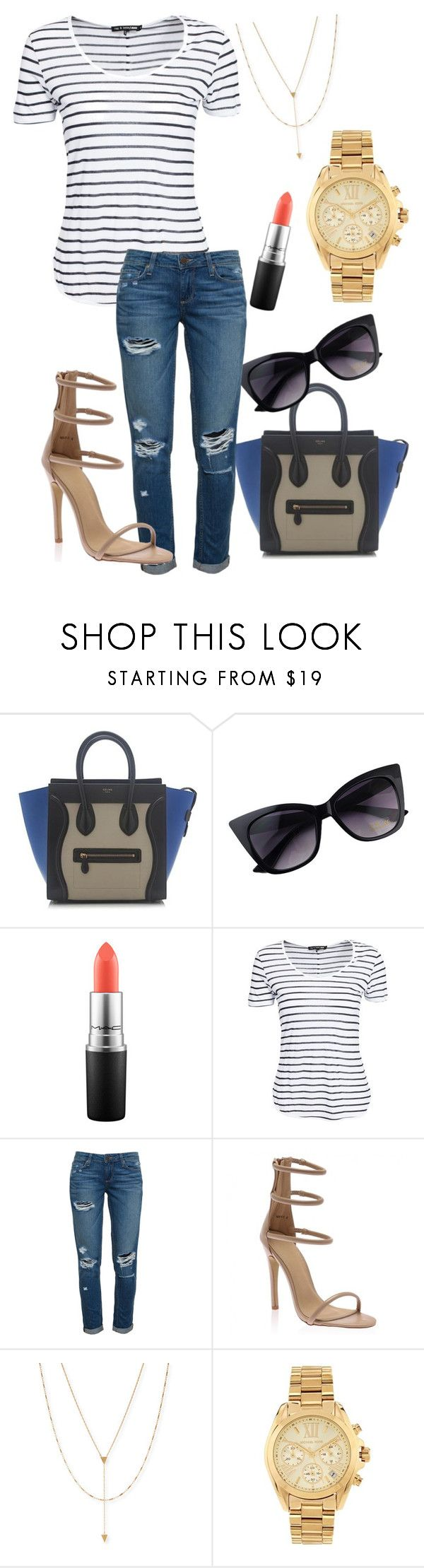 """shopping trip!"" by honey-coco ❤ liked on Polyvore featuring CÉLINE, MAC Cosmetics, rag & bone, Paige Denim, Jennifer Zeuner and Michael Kors"