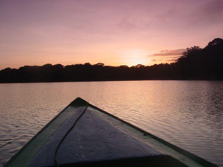 Nascer do sol no rio Tarumã, afluente do rio Negro, no estado do Amazonas, Brasil. Os pássaros deixaram as áreas de nidificação em busca de comida para os filhotes. Ouve-se todos os tipos de chamadas de animais e se vê um nascer do sol amazônico inesquecível.