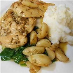 Chicken with Rosemary, Roasted Garlic and Spinach
