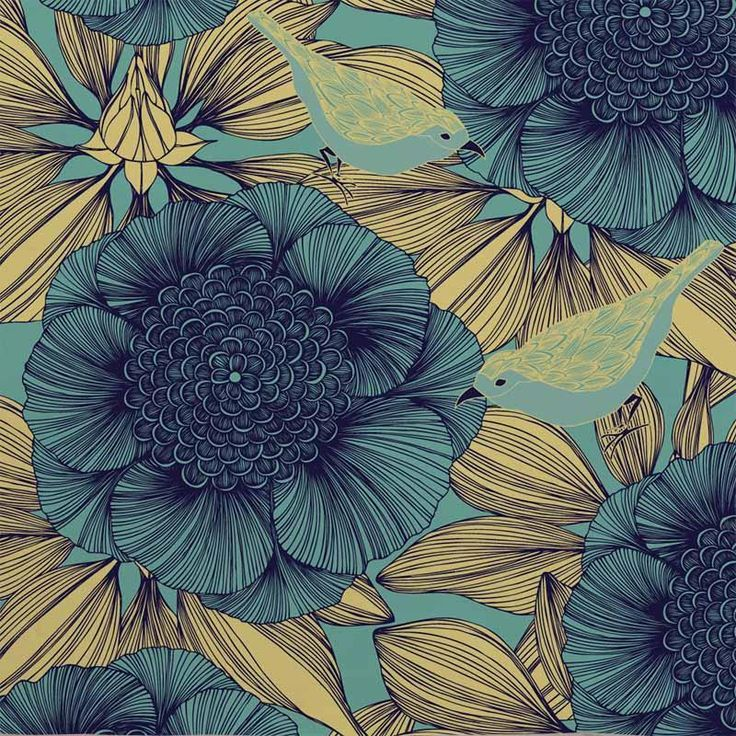 Victoria+Dark+Blue - Artisanal Wallpaper from The Wallpaper Collective