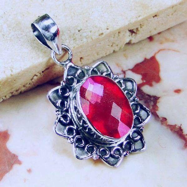 Solid 925 Sterling Silver Pink Aqua Mystic Gemstone Pendant