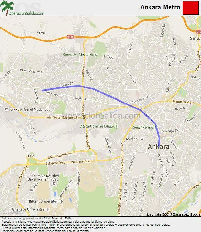 Mapa metro Ankara Línea Ankara Metro