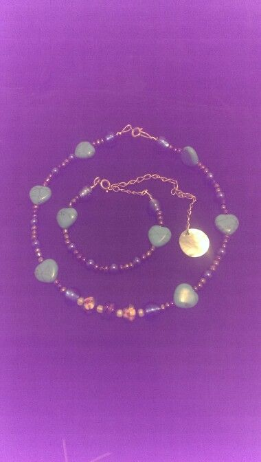 Day three: A choker and bracelet set made with seed beads, cloissone beads, glass beads, turquoise hearts and shell dangle charm on the bracelet...