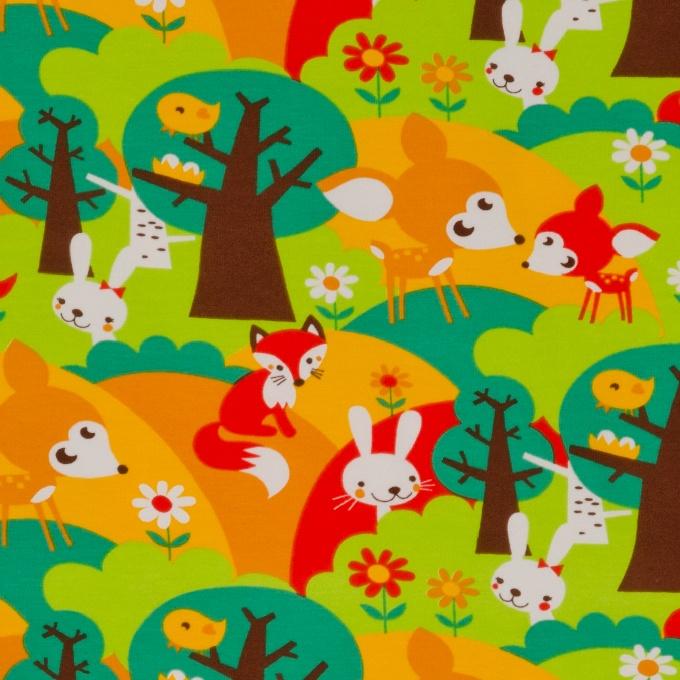 95% bio katoen, 5% lycra - 150cm breedte - Medium weight  Kleurrijk bedrukte ecologische tricot. Deze zachte kwaliteit van tricot is ideaal voor al je vrolijke projecten van t-shirts, pyjama's, ondergoed, leggings, kruippakje, …