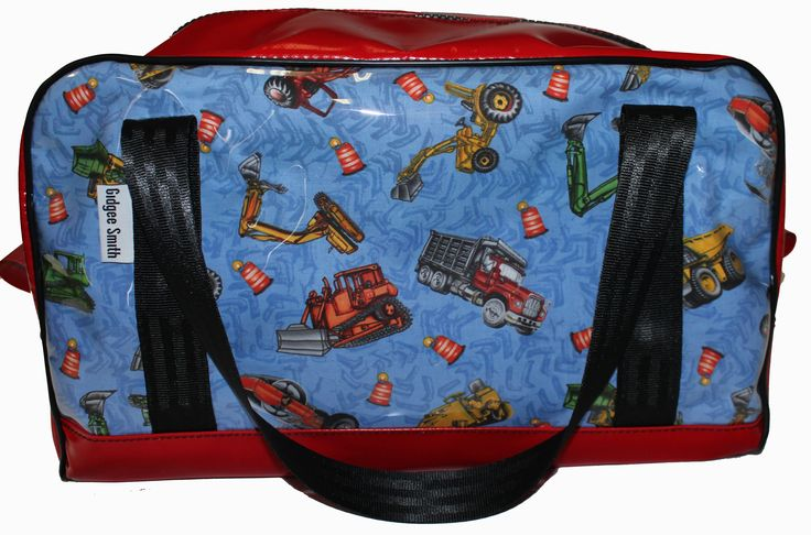 Little Trucks Fabric Print - great boy's gift idea. Available on Red or Blue backing.   All fabric prints are available on our Carry On Bags, Dance Bags, Overnight/Weekender Bags, Shampoo Bags and Travel Mate Bags.  Machinery   Loader   Backhoe   Bobcat   Unique