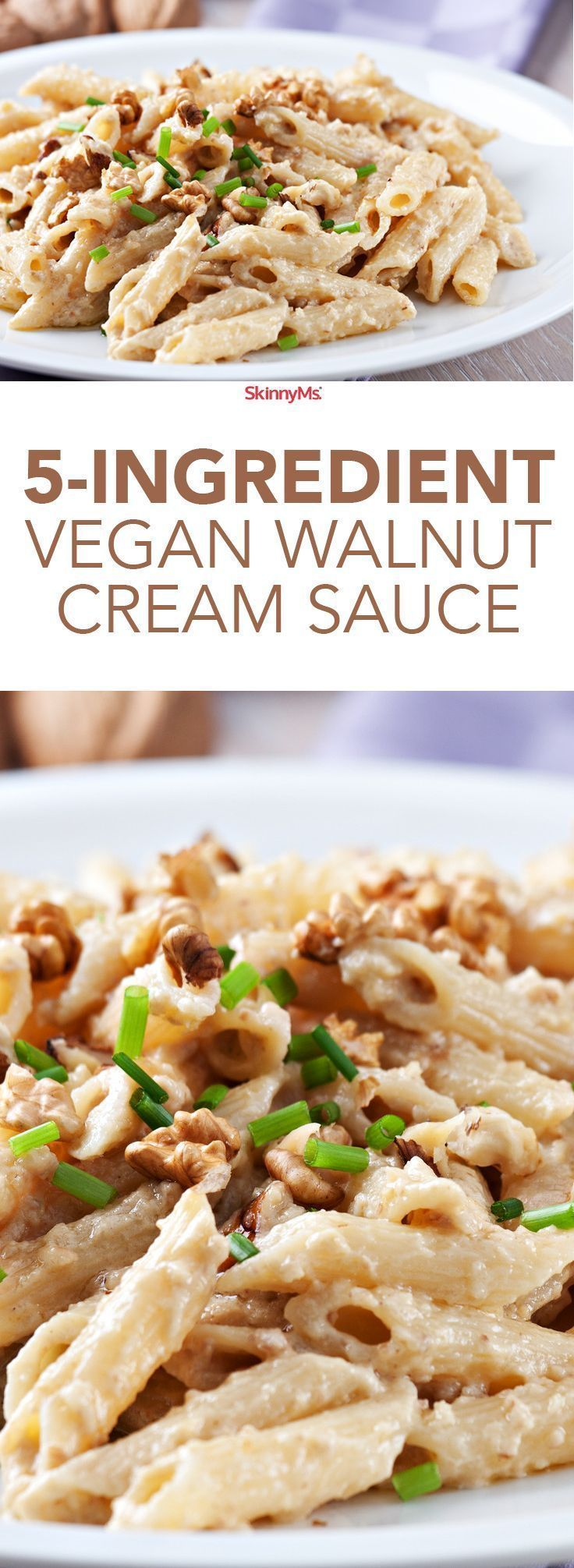 5-Ingredient Walnut Cream Sauce: Only 5 Ingredients, 2g carbs, SmartPoints: 2, and tons of flavor! #skinnyms #cleaneating