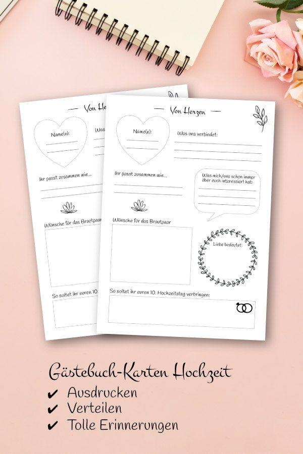 Hochzeit Gastebuch Karten Von Herzen Mit Fragen Zum Ausfullen