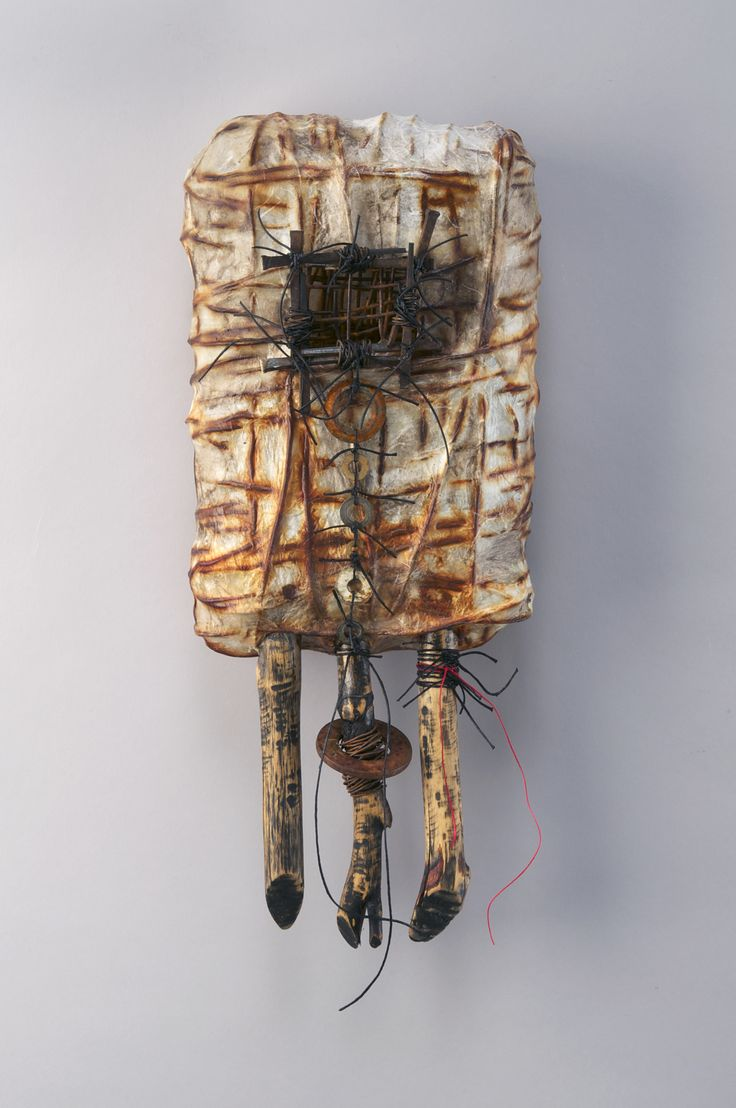 Shannon Weber, Oregon (Confessional Series) Hand woven of reclaimed construction wire, nails, washers, paper, sticks, encaustic