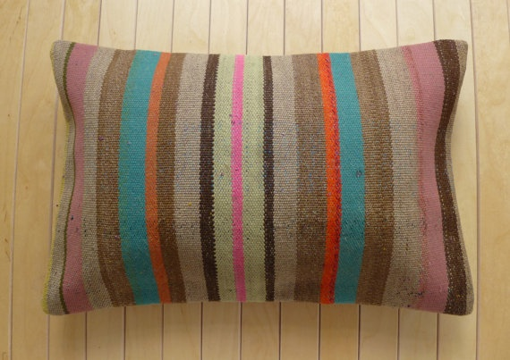 Decorative Throw Pillow Lumbar with stripes by PillowTalkOnEtsy, $32.00