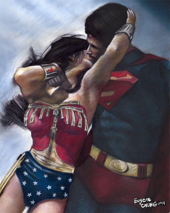 Wonder woman & superman painting, poster, print, marvel, comics poster, pastel…