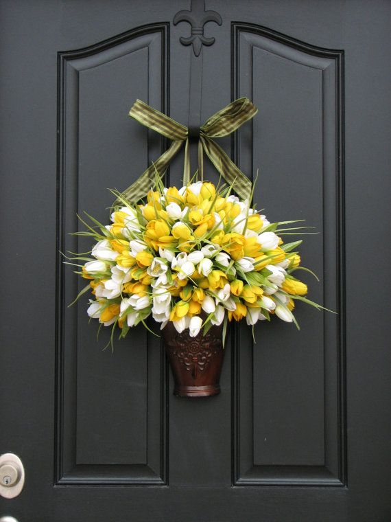 Spring Tulips  Spring Wreath  Yellow Tulips  by twoinspireyou #teampinterest