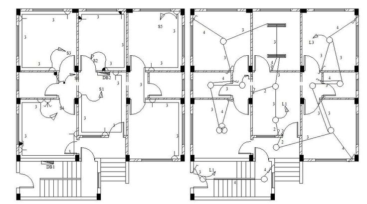 Residential bungalow home electrical installation layout