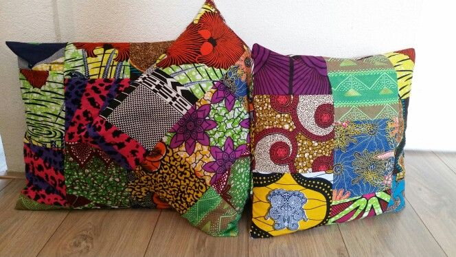 African wax print scraps..... made some happy pillows! !