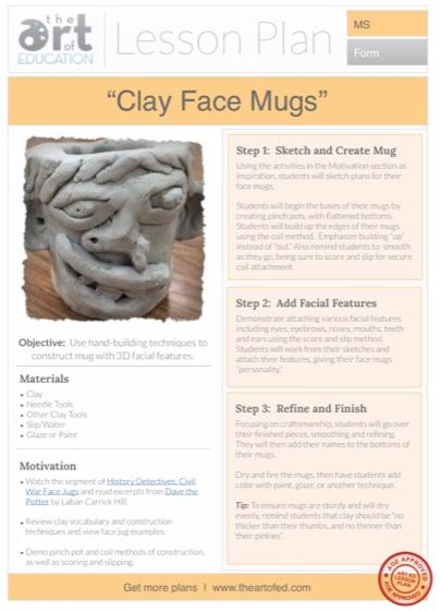 Clay Face Mugs: Free Lesson Plan Download