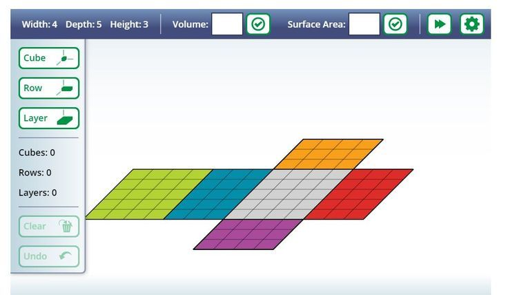 From Illuminaations, have the kids manipulate all types of shapes and determine the surface area as well as the volume. Deals with cubes, rows and layers. Great practice site. 6.G.2