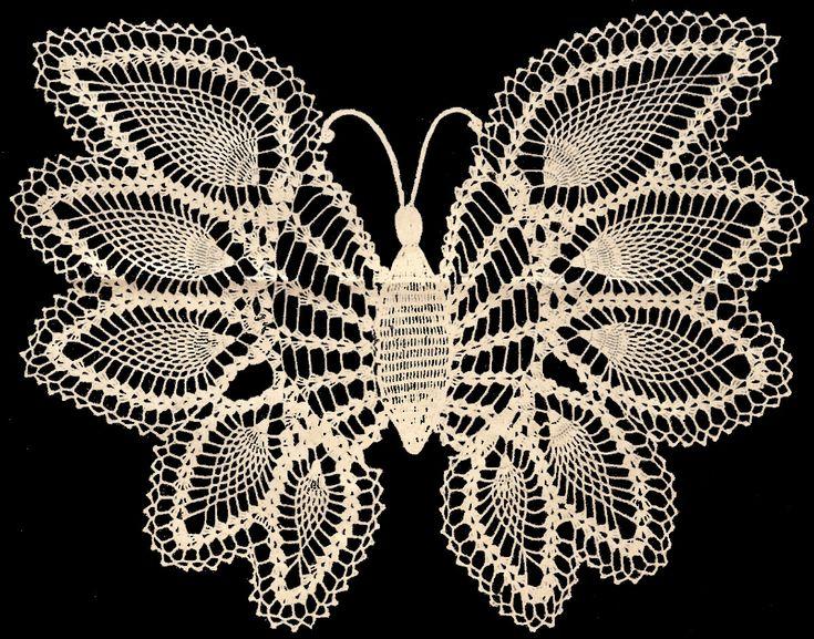 Vintage Crochet Pineapple Butterfly Doily Pattern Mat | eBay