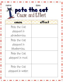Pete the Cat cause and effect