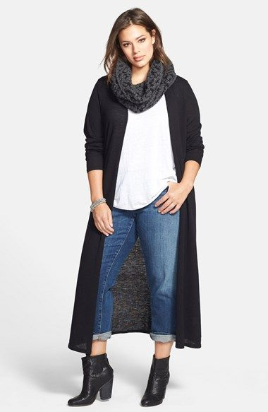 Eileen Fisher Long Wool Jersey Cardigan (Plus Size) | Nordstrom