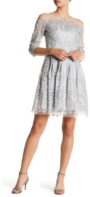 Kay Unger Metallic Embroidered Dress