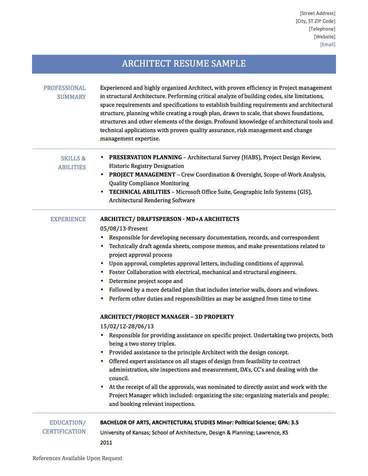 Architect Resume Summary - Apigram.Com
