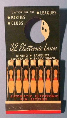 Bowling Alley  #Feature #Matchbook with die cut center simulated bowling ball.