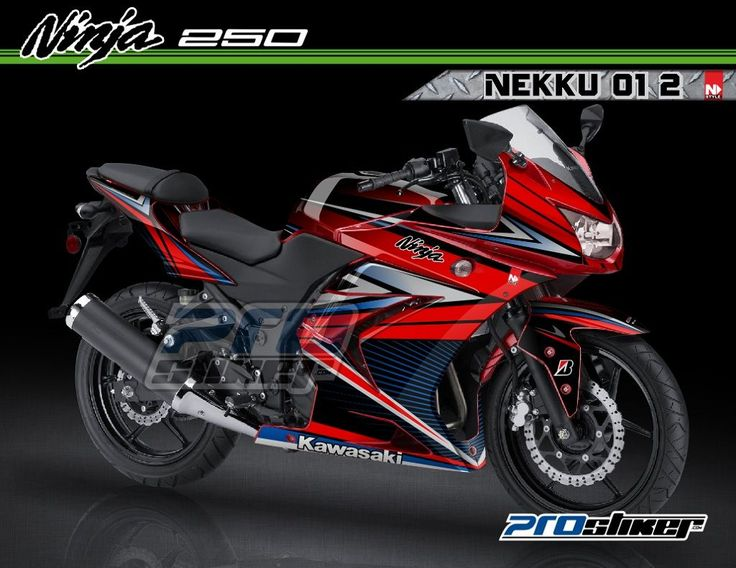 Modifikasi Ninja 250 Karbu Warna Merah Decal Modif NEKKU 01 2 Merah Strip Biru Full Body Prostiker
