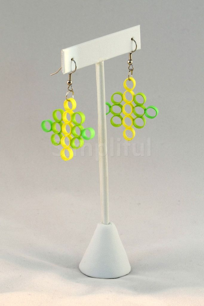 Paper Quilling Yellow and Green Circle Earrings