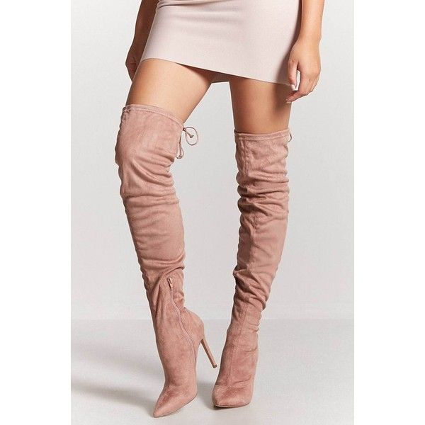 boots, mauve, over-the-knee boots