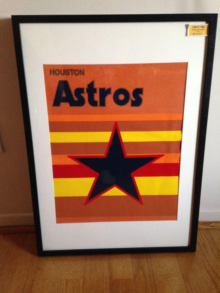 Vintage Felt Houston Astros Poster by ThingsIBuyForYou on Etsy