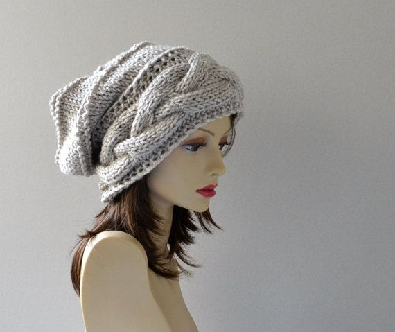 Hand Knit Hat - Slouchy Hat -  Winter Accessories -  Slouchy Women Hat - Oversized Hat - Cable Hat in Cream - Chunky Knit