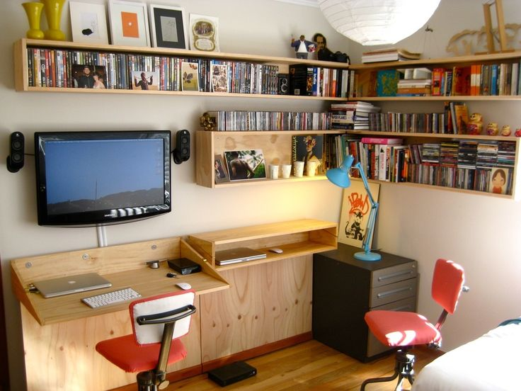 Name: Tim GrocottLocation: Auckland, New ZealandYour Home Office Organization or Tech Tip: We needed a dual use space, this is our office as well as our TV room