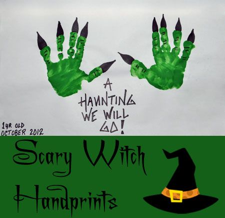 Great Halloween Handprint Craft: How to make Scary Witch Handprints from @Amanda Snelson Snelson @Amanda Snelson @Amanda @artsy_momma  Love this!!