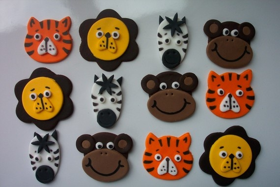 Fondant Cupcake or Cookie Toppers Edible Animal Mix