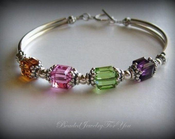 Personalized Mothers Birthstone Bracelet Mums