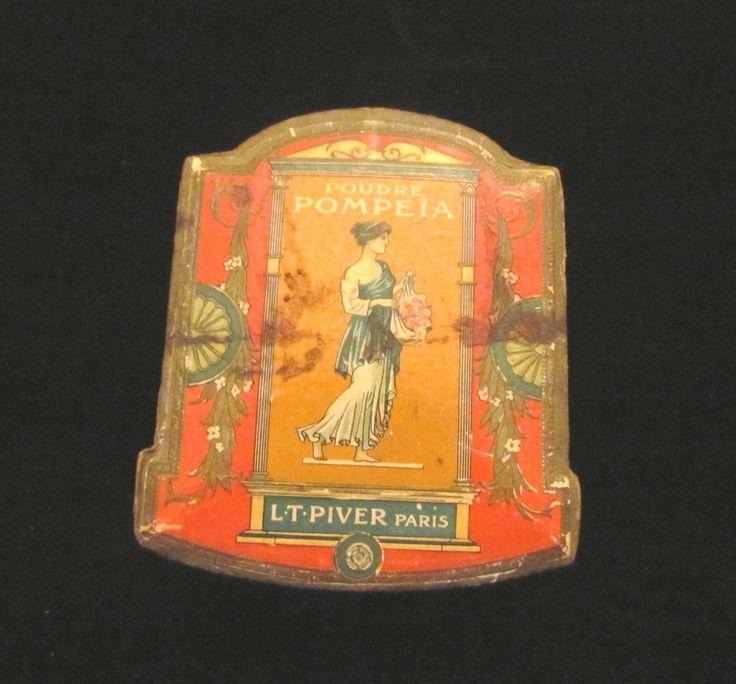 Antique French Powder Box Poudre Lt Piver Pompeia  Face Powder Box Paris Vanity Accessory RARE