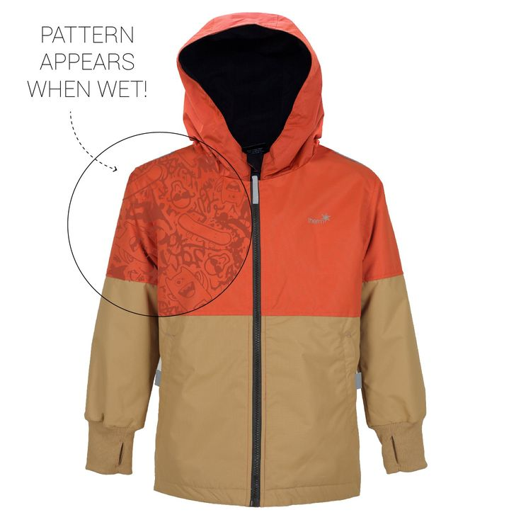 Therm Wind and Waterproof Lightweight Rain Jacket with Magic Print (10, BURNT ORANGE). All-Weather Wear: From a brisk breeze to pop-up showers, our jackets are a great go-to for any season! Windproof and waterproof up to 3,000mm, they'll keep kids dry in 3 hours of steady rain and even have a cozy microfleece lining for thermal protection. Magic Print: With its water-activated print, kids will be eager to slip on their rainwear jacket before heading out the door! They'll love showing off…