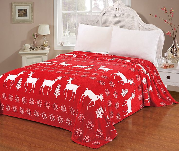 Super Soft Throw Blanket, Christmas Red Reindeer Snowflakes, King Size