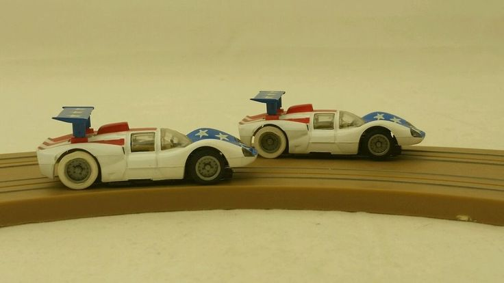 Two Tyco Slot Cars Chaparral Stars and Stripes 501 and 502 #Tyco