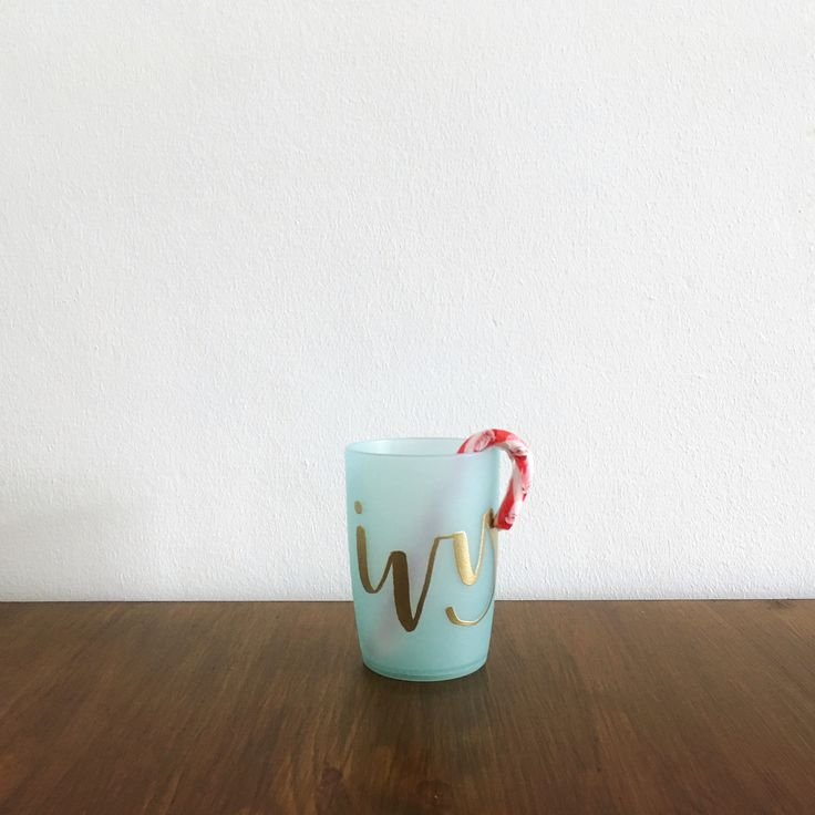 Brush lettered & Gold embossed Christmas cup DIY gift idea