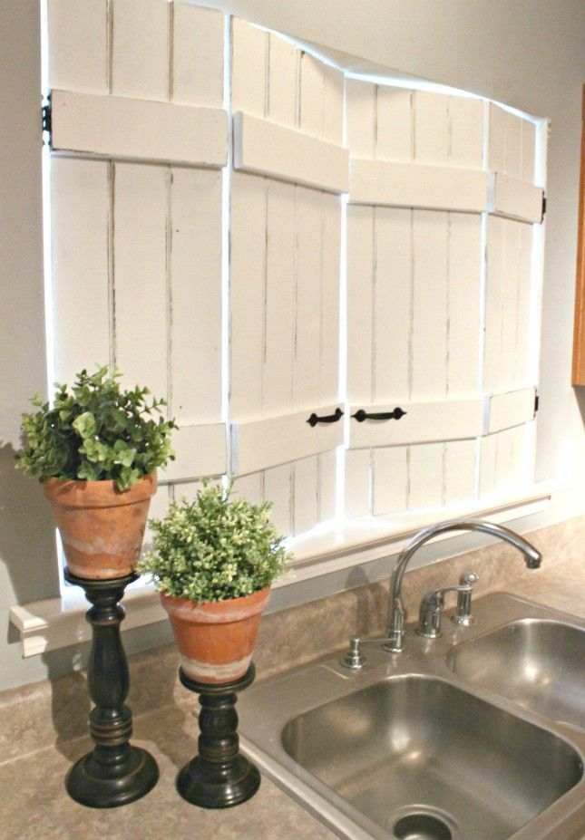19 DIY Window Treatments to Update Your Space: Upcycled Kitchen Shutters DO THIS FOR ALL THE WINDOWS IN THE HOUSE